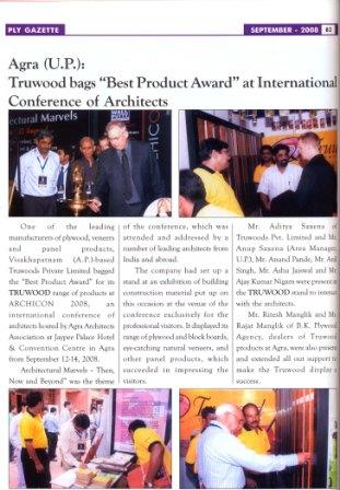 Truwoods wins best product award at ARCHICON-2008